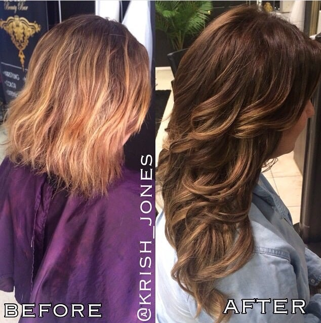 Before And After Base Color Balayage And Braidless Sew In