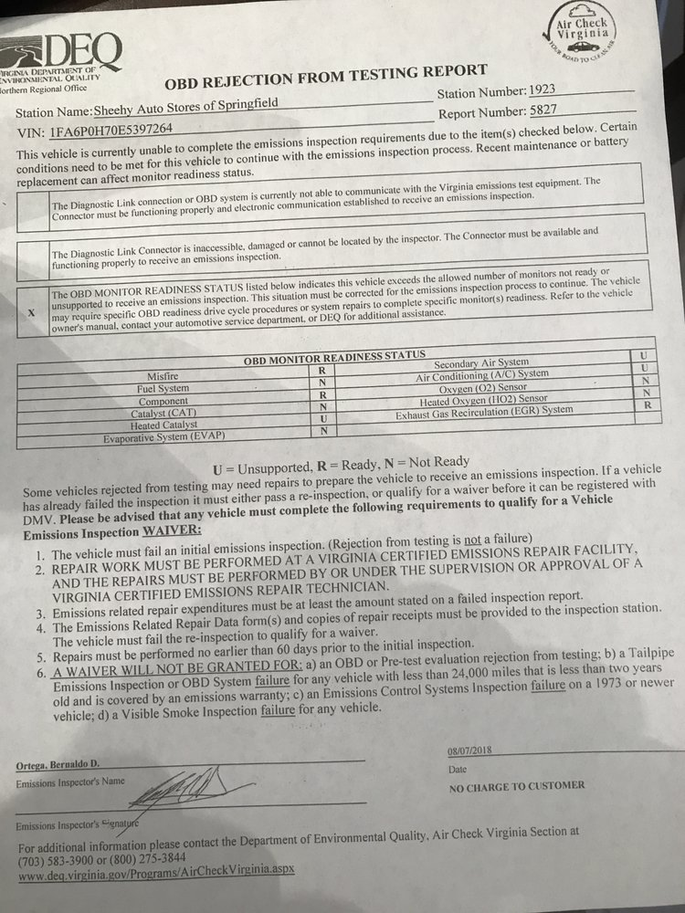 Document showing the Ford Fusion failed the emissions pre