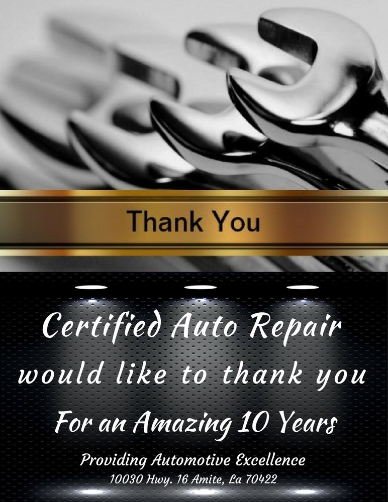 Certified Auto Repair: 10030 Highway 16, Amite, LA