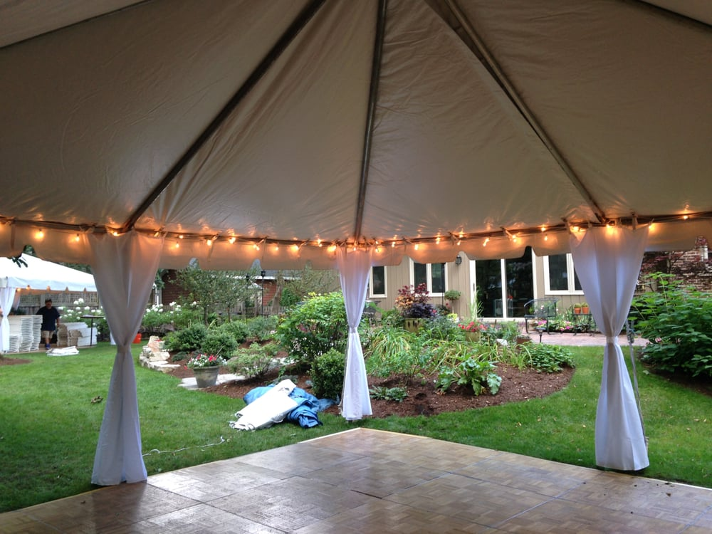 Photo of Big Top Tent u0026 Party Rental - Waukegan IL United States. & 30x40 Frame tent with white leg drapes and cafe perimeter lighting ...