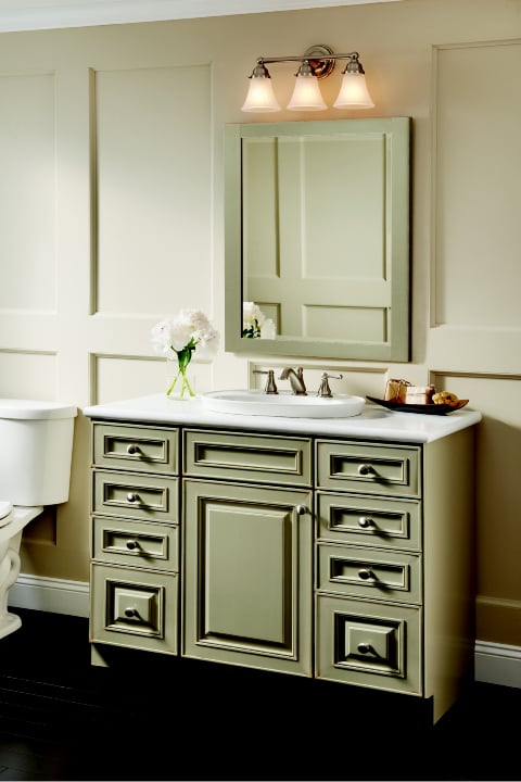 Green Painted Bathroom Vanity By Kraftmaid At Carole Kitchen Bath