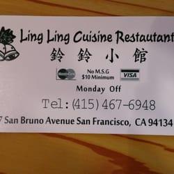 Ling Ling Cuisine Restaurant San Francisco Ca