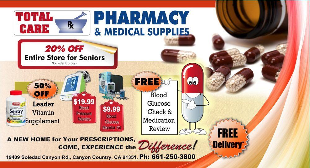 Total Care Pharmacy & Medical Supplies | 19409 Soledad Canyon Rd, Santa Clarita, CA, 91351 | +1 (661) 250-3800