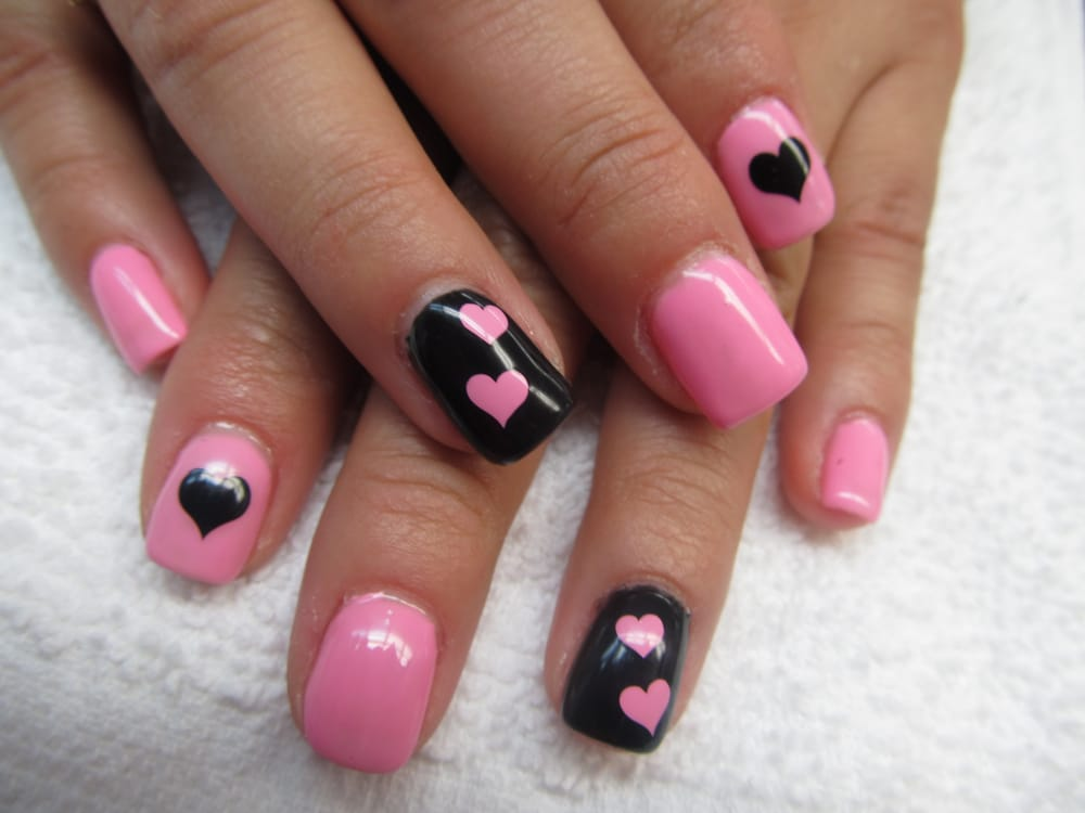 Photo of Nails Unique - Hayward, CA, United States. heart,pink, - Heart,pink,black Nail Art - Yelp