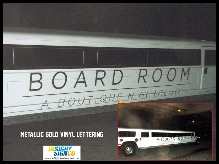 Metallic Gold Vinyl Lettering for Boardroom Limo - Yelp