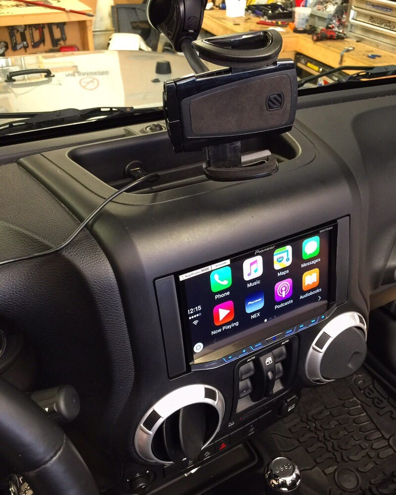 A Pioneer Apple CarPlay Radio Installed In A Jeep Wrangler