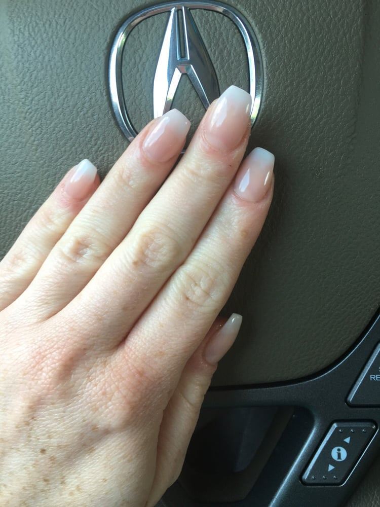 Ballerina (aka coffin) faded French tip acrylic nails by Kat in ...