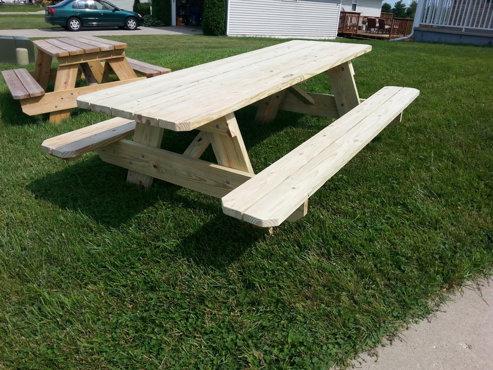 8 Foot Treated Picnic Table. 2x8 Framing 2x6 Benches And ...
