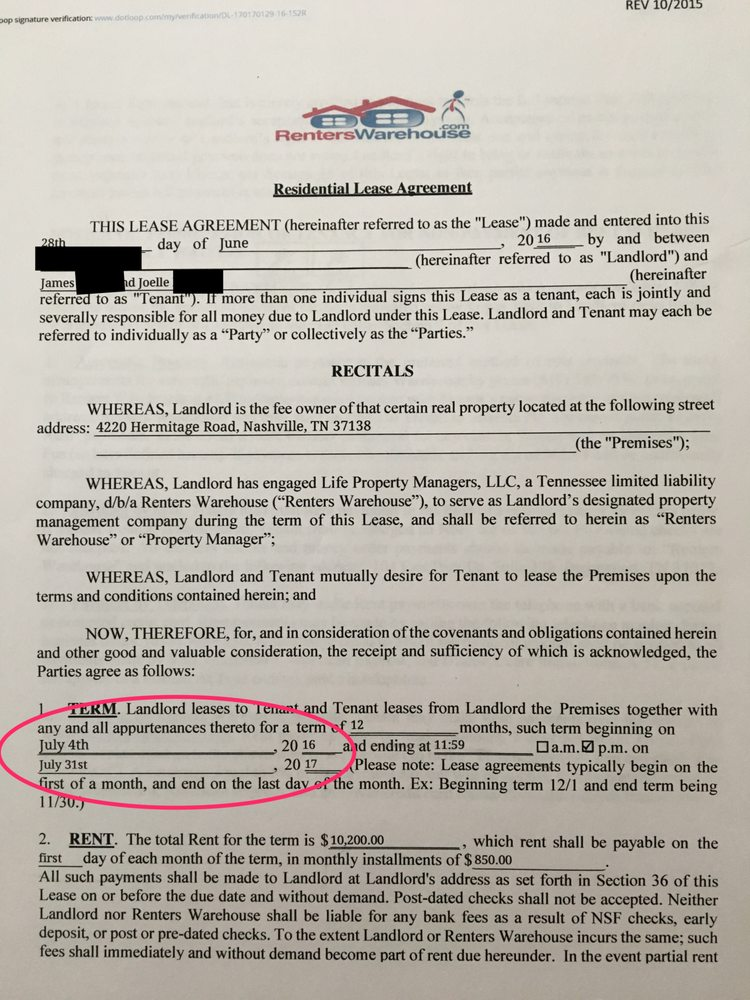 Front Page Of Lease With Dates To Compare To Codes Report Picture