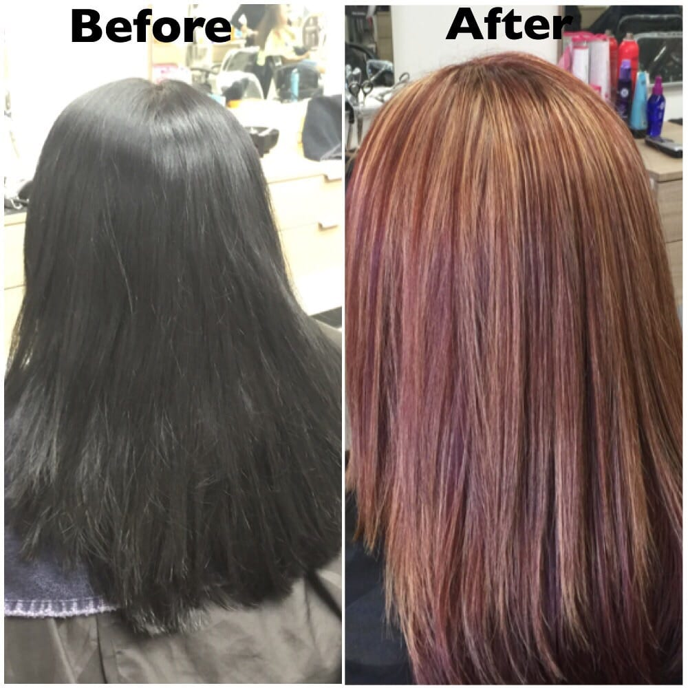 Transforming The Black To A Dark Red Brown With A Partial Highlights