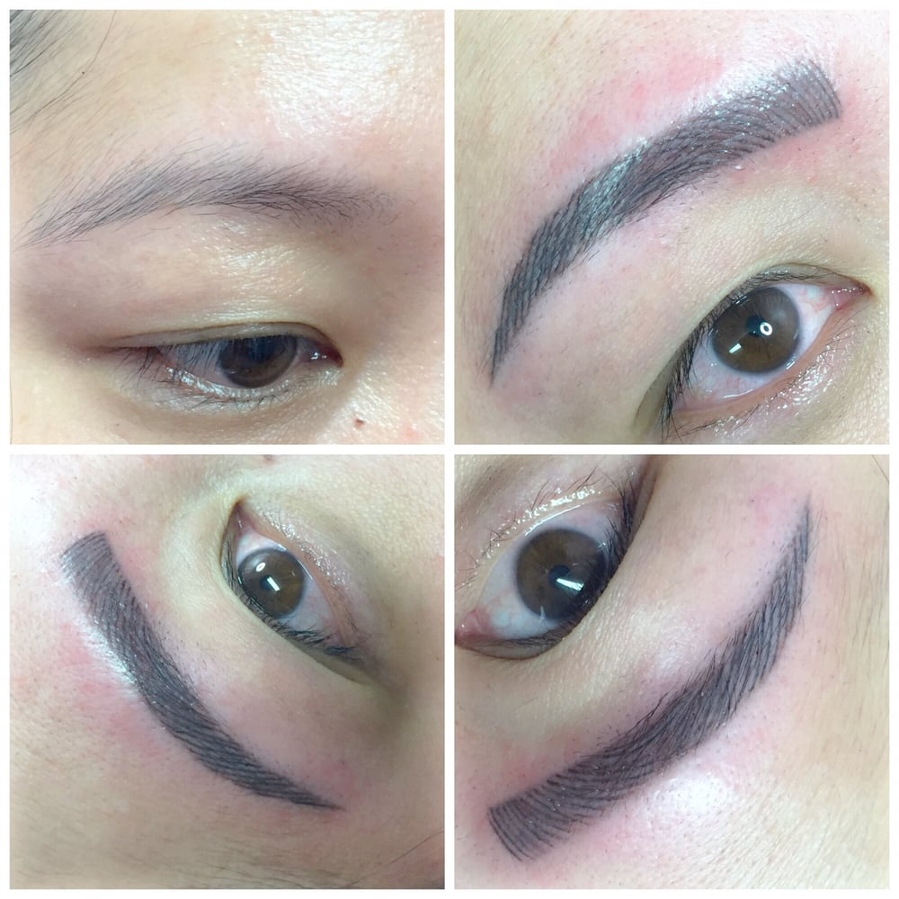 Top left - before  Microblading eyebrows with Anh Le  Love
