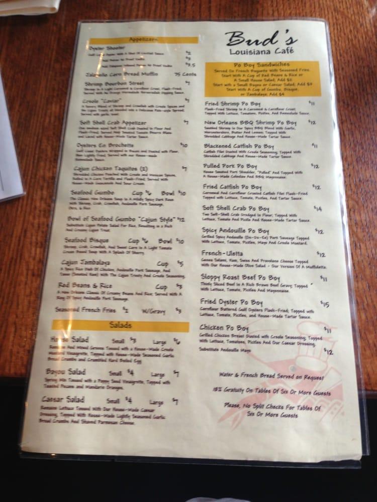 Bud S Louisiana Cafe Menu