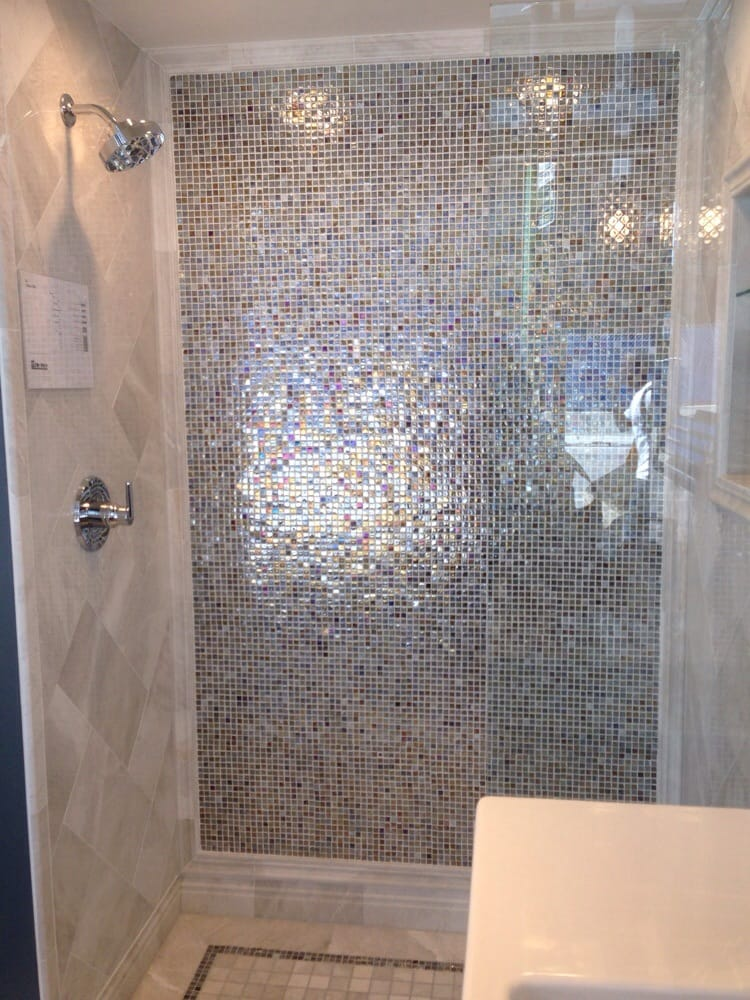 Shower Floor Tiles Which Why And How: Shower With Iridescent Glass Tiles And Marble