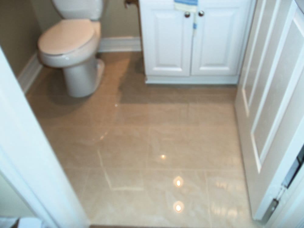 Bathroom Floor With Polished Porcelain Tile Not As Slippery As - Are porcelain floor tiles slippery