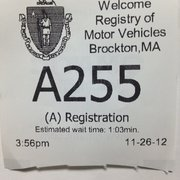 35 min Photo of Registry of Motor Vehicles - Brockton, MA, United States. Est wait
