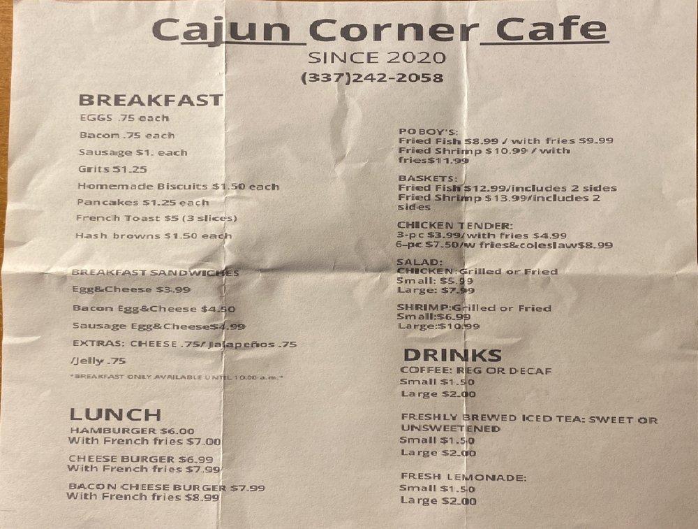 Cajun Corner Cafe: 220 W Port St, Saint Martinville, LA