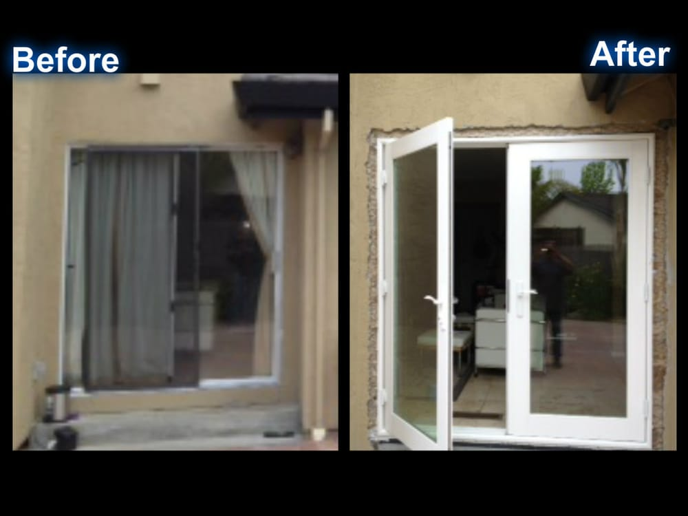 Back of house before and after milgard out swing french for Quality windows