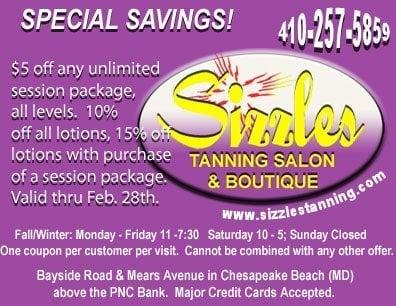 Sizzles Tanning Salon: 7933 Bayside Rd, Chesapeake Beach, MD