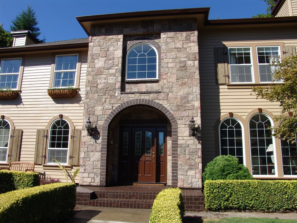 Complete exterior remodel beaverton cultured stone for Brick stone siding