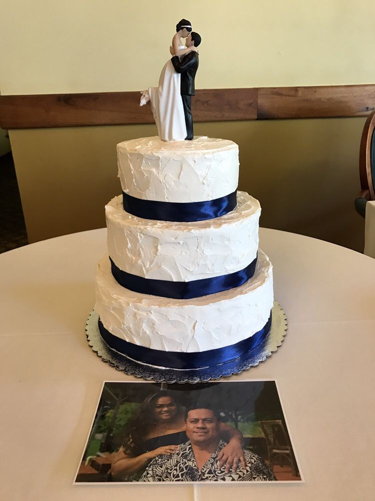 Textured Buttercream Wedding Cake With Navy Blue Ribbon Yelp