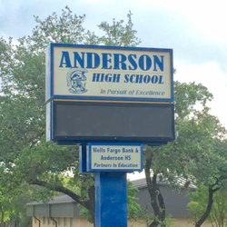 Photo of Anderson High School - Austin, TX, United States. School sign  facing