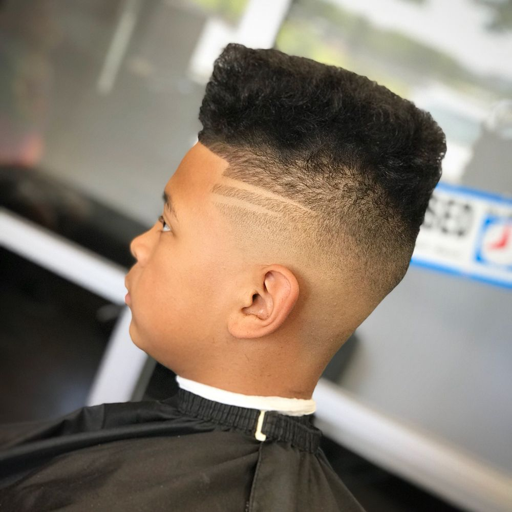 High Top Fade With Double Line Design Yelp