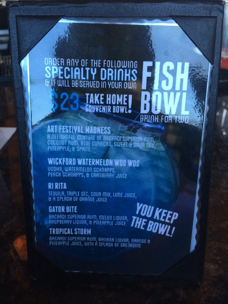 Fish bowl drink for two 23 complete with gummy fish yelp for Fish bowl drinks near me