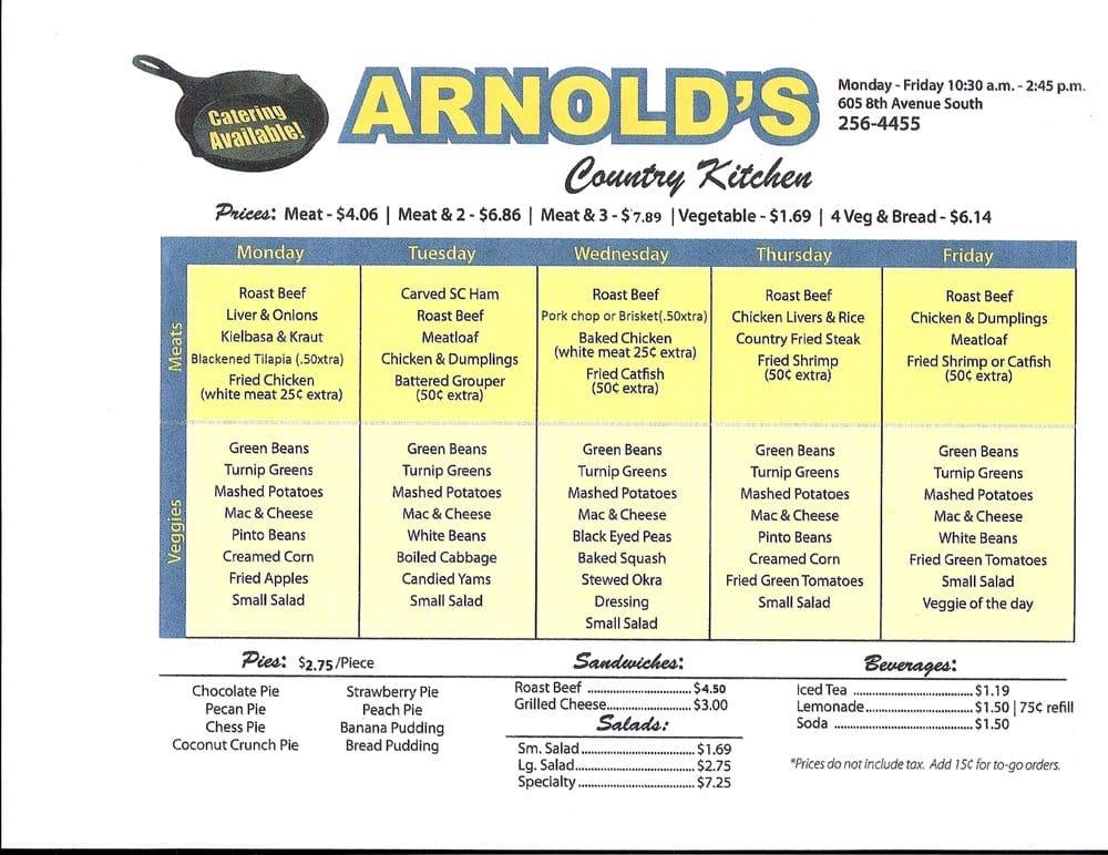 Arnold Country Kitchen Nashville Menu