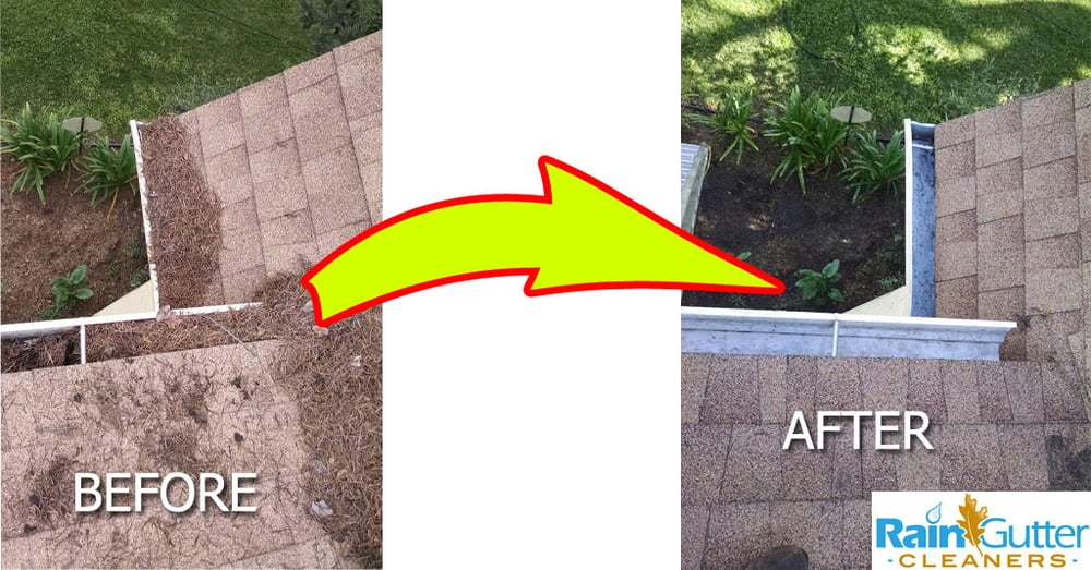 A Before And After Cleaning Of Rain Gutters Yelp