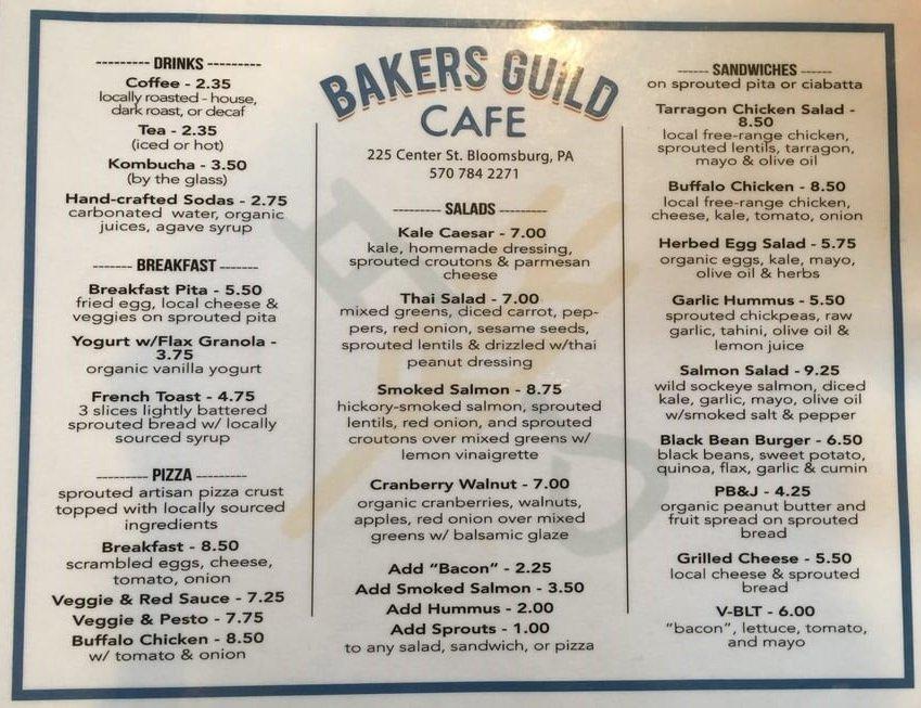 Baker's Guild Cafe: 225 Center St, Bloomsburg, PA
