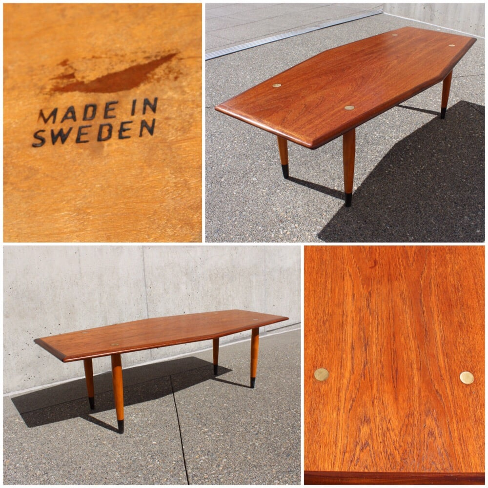 Cool Mid Century Walnut Brass Inlay Coffee Table By Dux