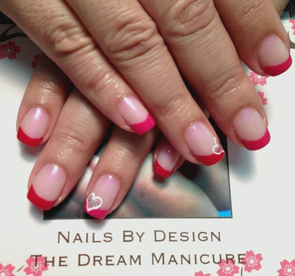 These natural nails were done for Valentine\'s Day. A colored tip ...