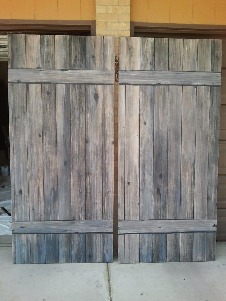 Old Barn Doors Decoration standard flat, hollow core doors painted to look like old barn