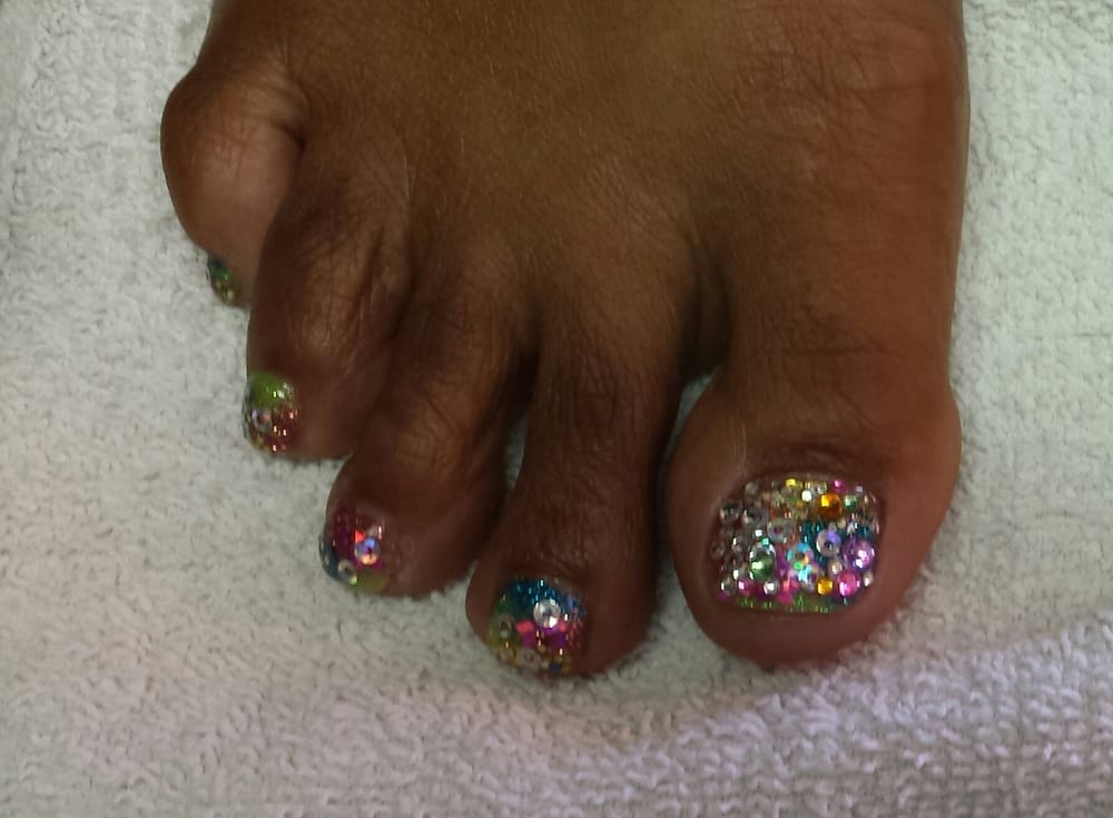 Pedicure toes with multi-colors rockstar nails with add-on and gel ...