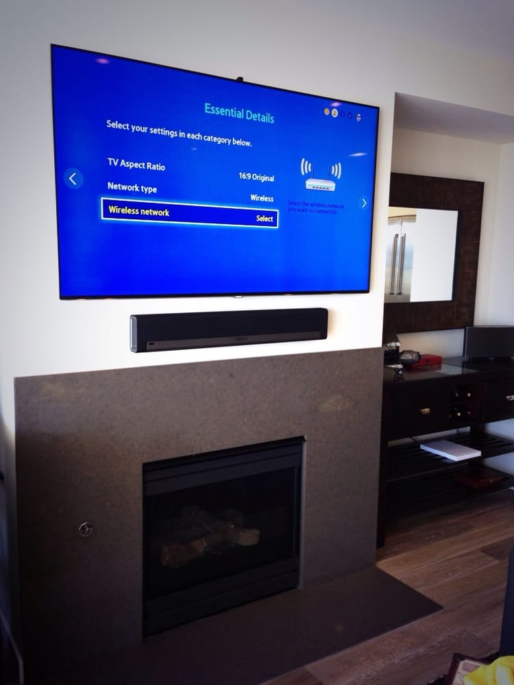 Ultra Slim Mount For Samsung Tv Over Fireplace And Sonos Sound Installed All Cords Concealed Yelp