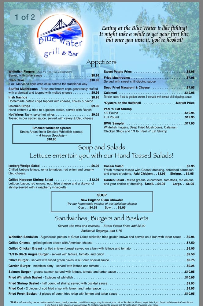 Menu yelp - Blue water bar and grill ...