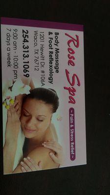 Rose Spa 1201 Hewitt Dr Ste 106 A Woodway, TX Massage