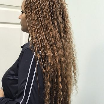 Box braids with curly hair , Yelp