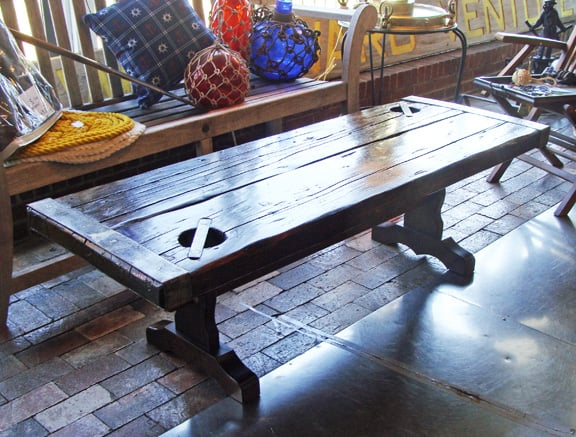 Vintage Coffee Table Made Using An Authentic WWII Liberty Ship Hatch - Ship hatch coffee table