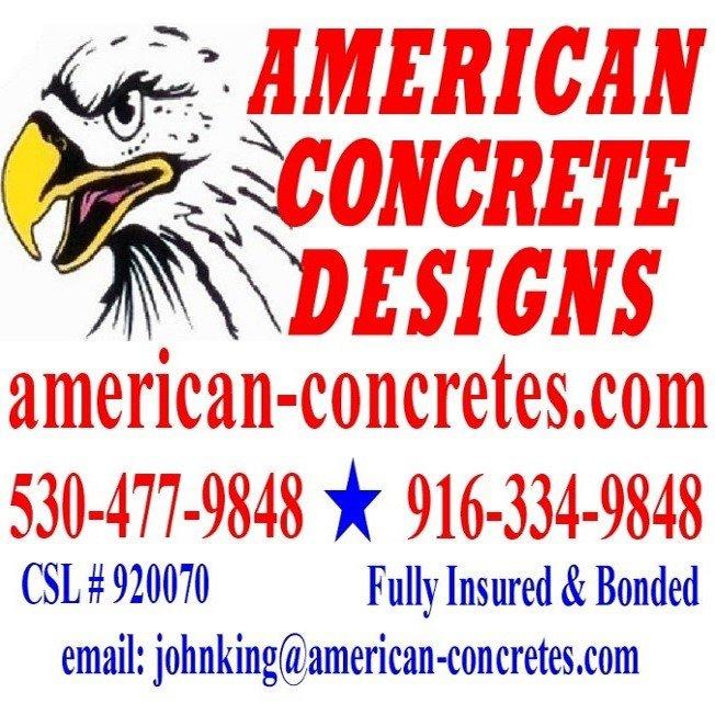 American Concrete Designs: 18294 Lawrence Way, Grass Valley, CA
