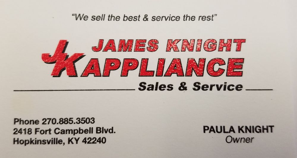 James Knight Appliance Sales & Service: 2418 Fort Campbell Blvd, Hopkinsville, KY