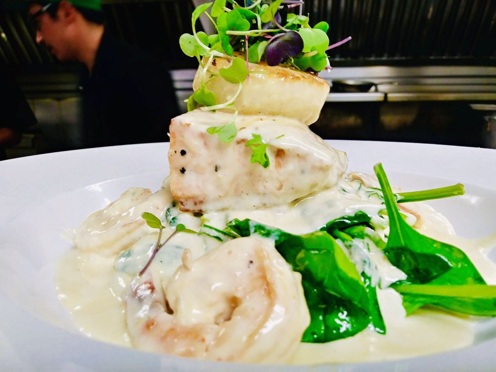 Photo of Kimi's Chop & Oyster House - Salt Lake City, UT, United States. Halibut, Scallop & Shrimp special