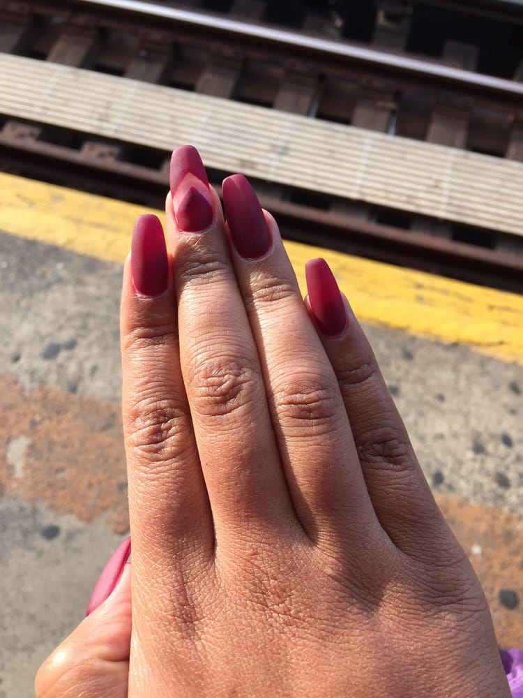 Coffin burgundy matte nails with cut out design :) - Yelp
