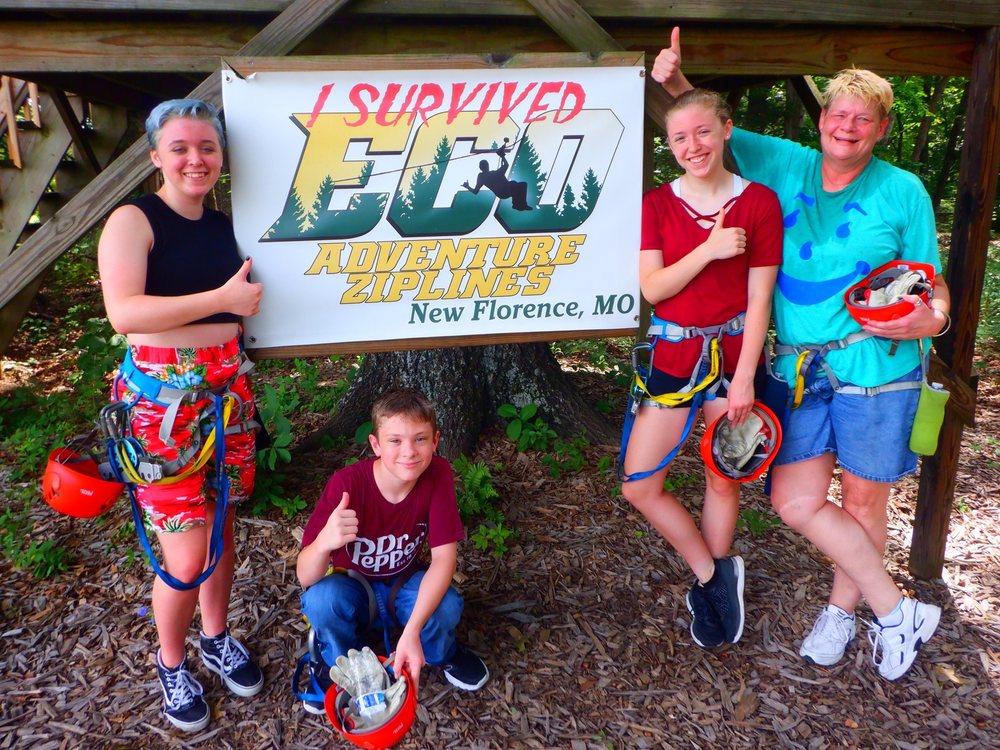 Eco Adventure Ziplines: 489 S Hwy 19, New Florence, MO