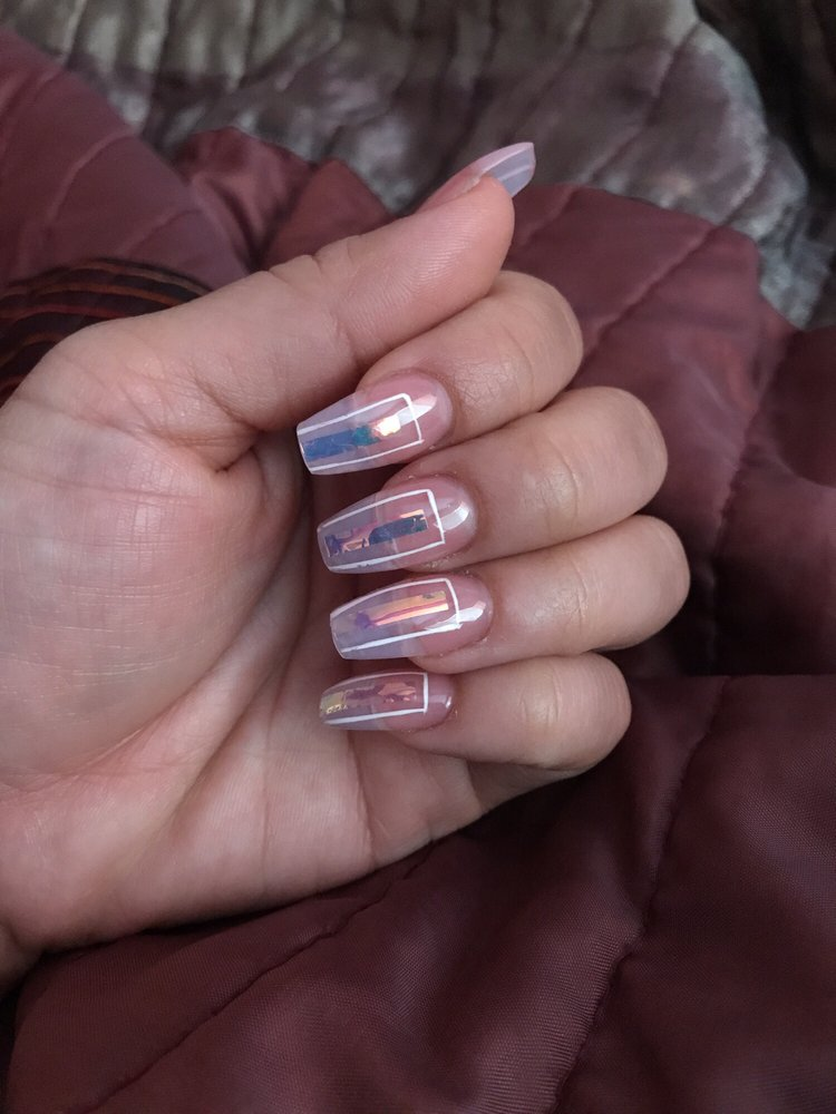 Glass Holographic Film Plus Cute Square Nail Design On A Full Set