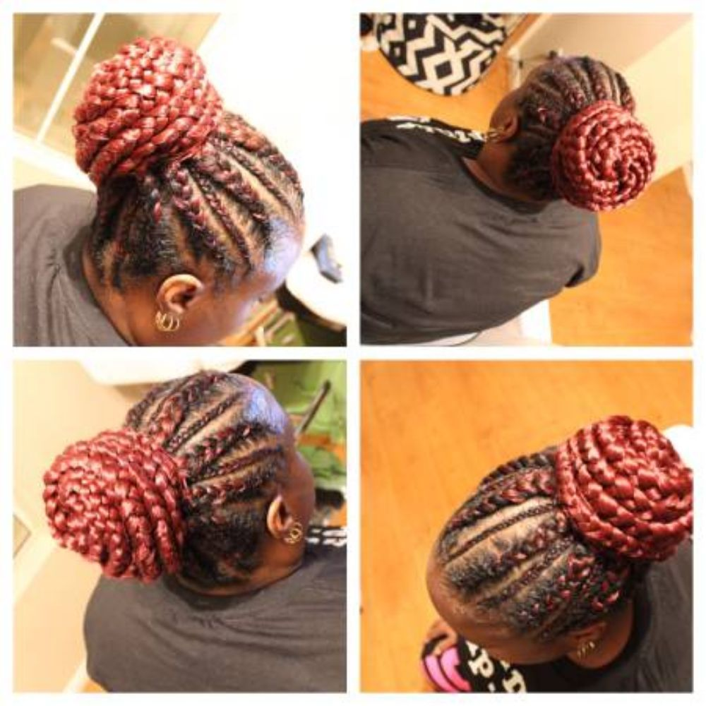 Feed In Braids In A Bun Kanekalon Hair Provided Yelp