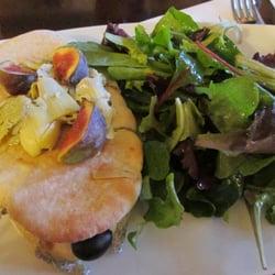 Café de la Paix - Paris, France. Goat cheese veggie sandwich with delicious figs.