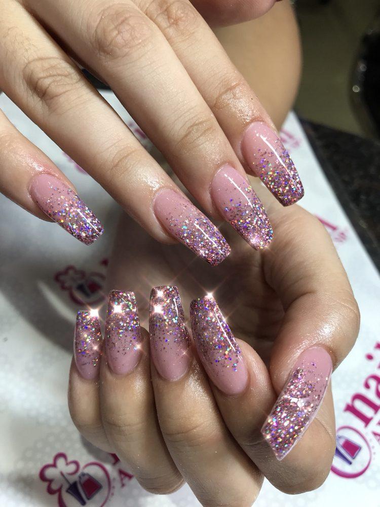 Acrylic glitter ombré nails donebyVan - Yelp