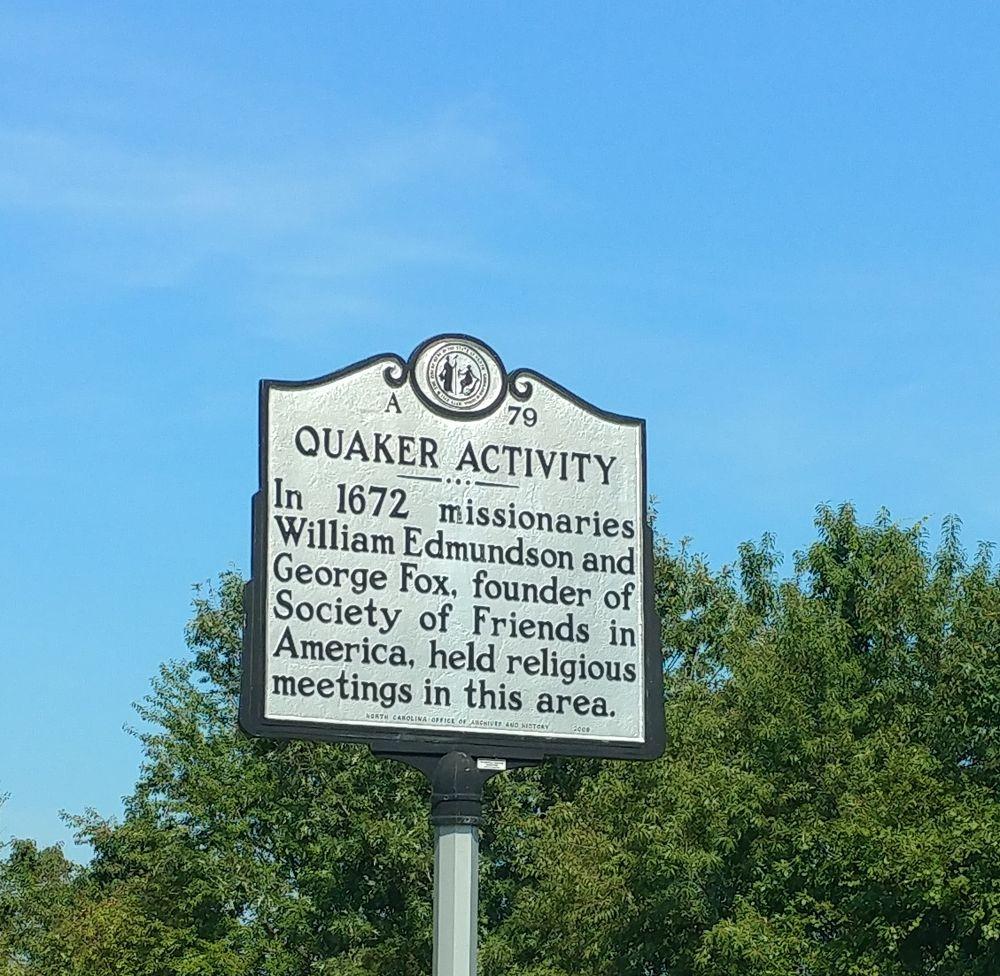 Quaker Activity Historical Marker: US-17 Bypass, Hertford, NC