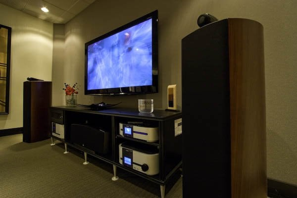 B Amp W Nautilus Speakers With Tv Mounted Above Audio Video